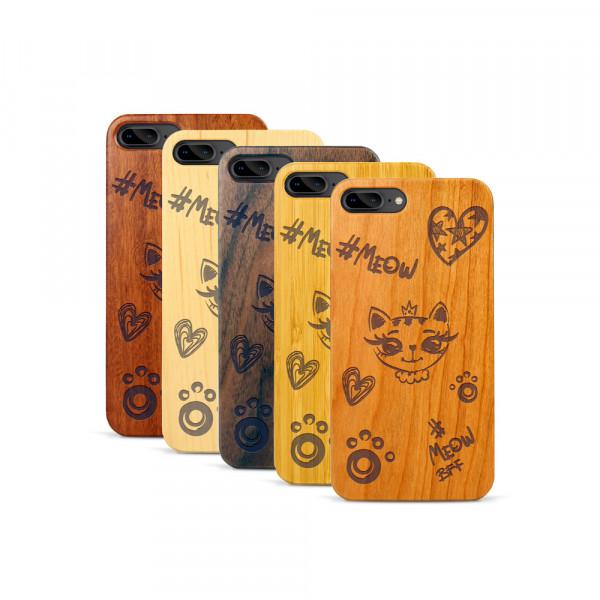 iPhone 7 & 8 Plus Hülle Cat Meow aus Holz