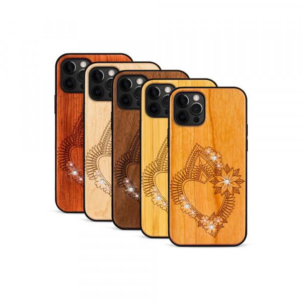 iPhone 12 Pro Max Hülle Herzblume Swarovski® Kristalle aus Holz