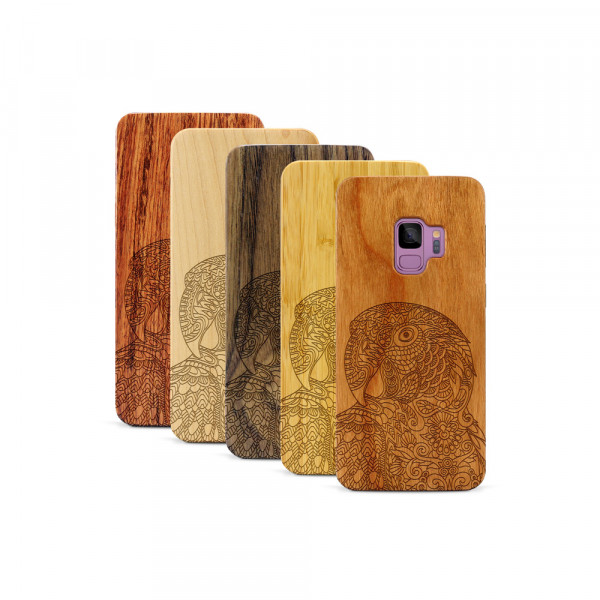 Galaxy S9 Hülle Papagei aus Holz