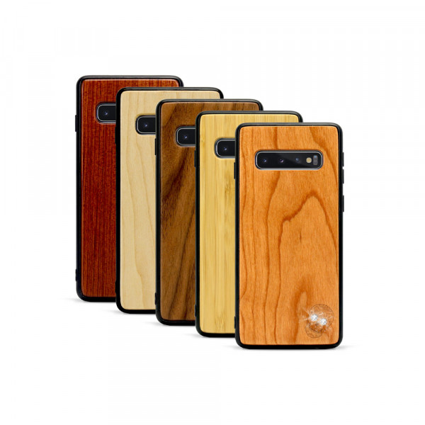 Galaxy S10+ Hülle Totenkopf Swarovski® Kristalle aus Holz
