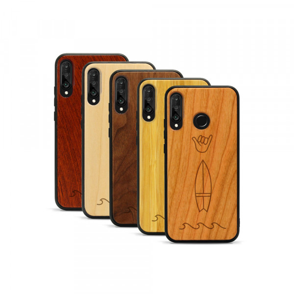P30 lite Hülle Surf Icons aus Holz