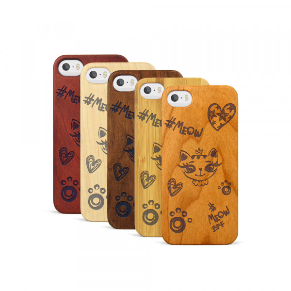 iPhone 5, 5S & SE Hülle Cat Meow aus Holz
