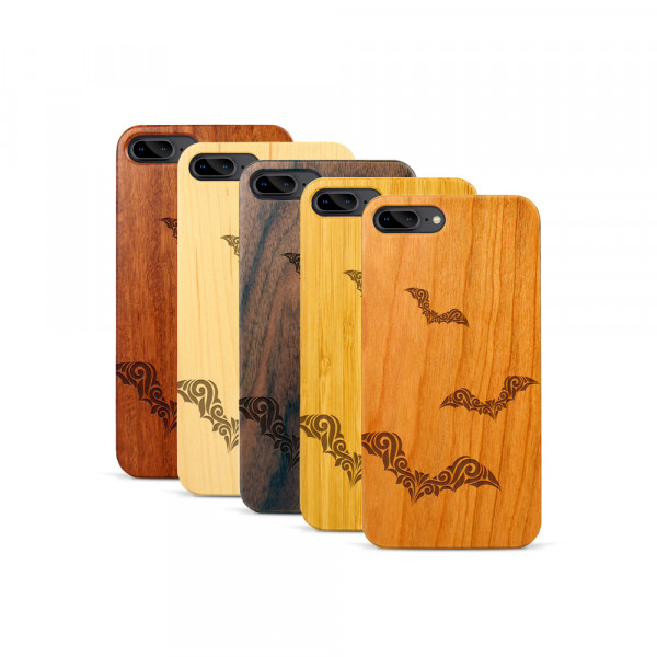 iPhone 7 & 8 Plus Hülle Fledermaus Ornamente aus Holz