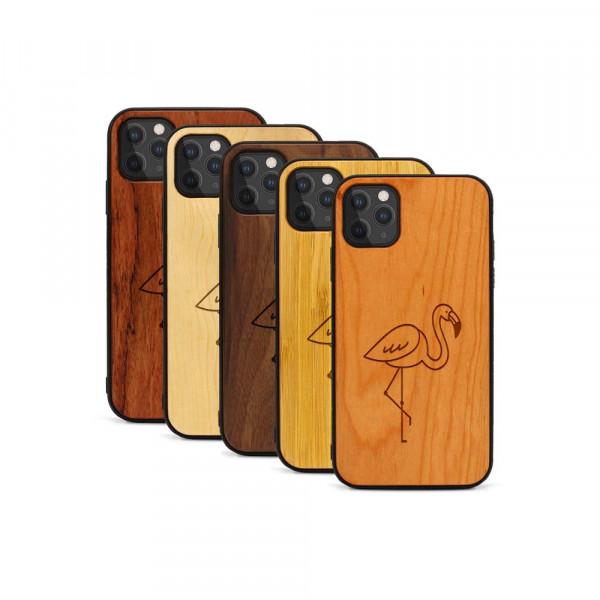 iPhone 11 Pro Hülle Flamingo aus Holz