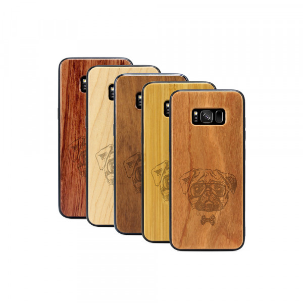 Galaxy S8+ Hülle Fashion Mops aus Holz