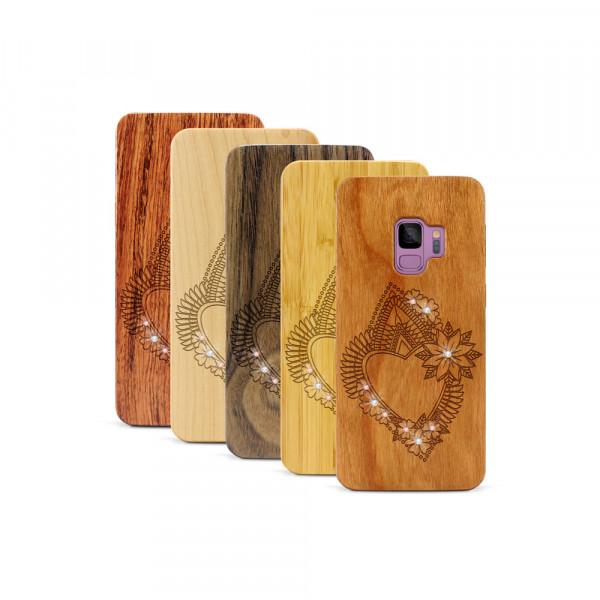 Galaxy S9 Hülle Herzblume Swarovski® Kristalle aus Holz