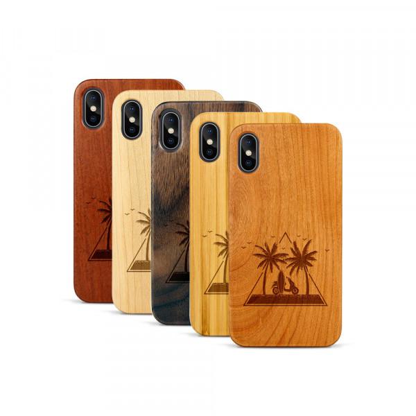 iPhone X & Xs Hülle Palmen und Meer aus Holz