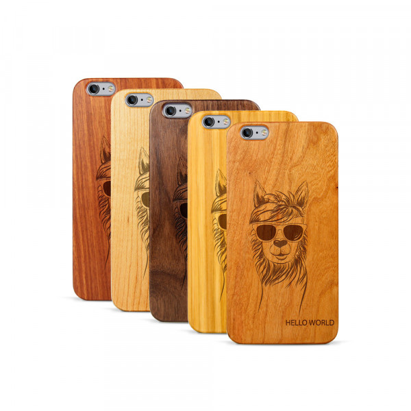 iPhone 6 & 6S Plus Hülle Llama aus Holz