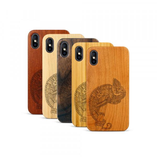 iPhone X & Xs Hülle Chamäleon aus Holz