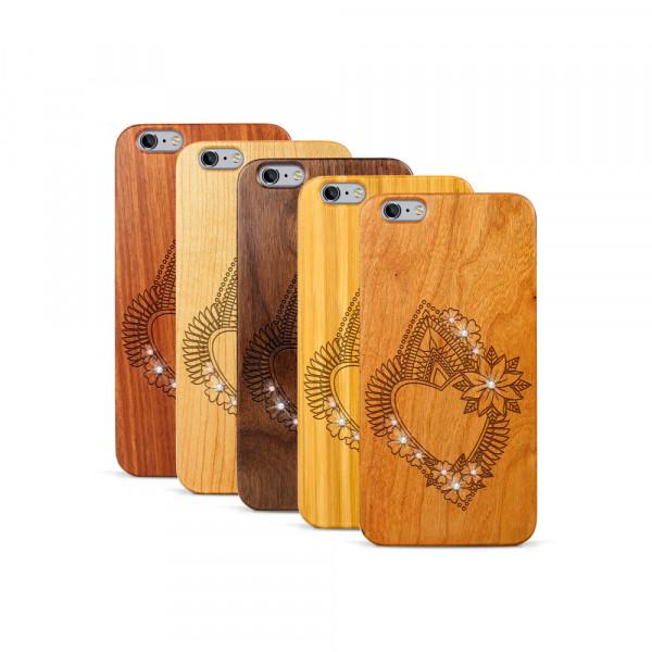 iPhone 6 & 6S Plus Hülle Herzblume Swarovski® Kristalle aus Holz