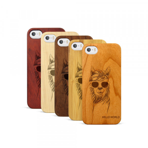 iPhone 5, 5S & SE Hülle Llama aus Holz