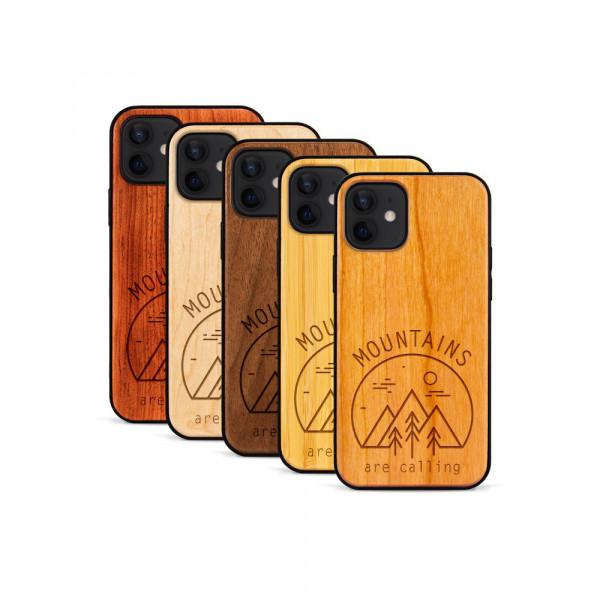 iPhone 12 Mini Hülle Mountain Calling aus Holz