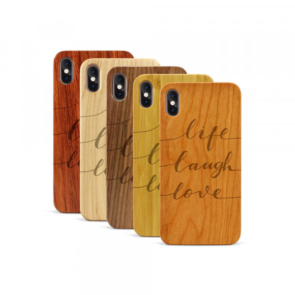 iPhone XS Max Hülle Life Laugh Love aus Holz