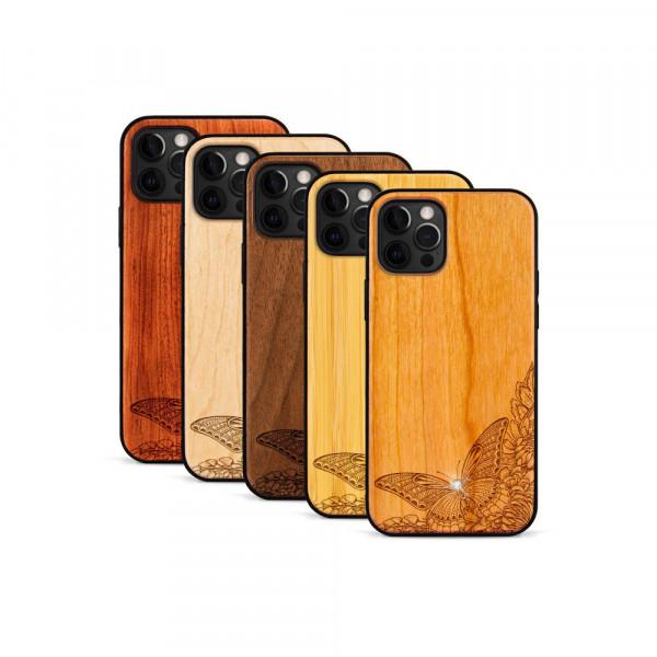 iPhone 12 Pro Max Hülle Schmetterling Swarovski® Kristalle aus Holz
