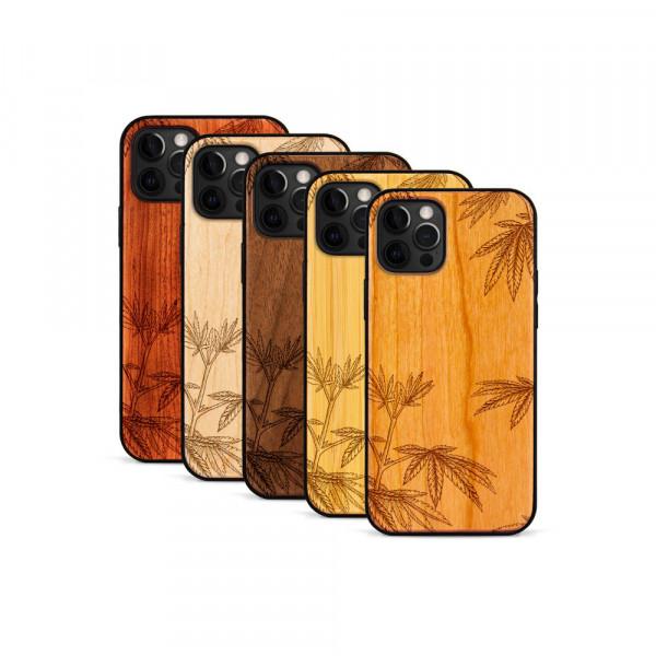iPhone 12 Pro Max Hülle Hanfpflanze aus Holz