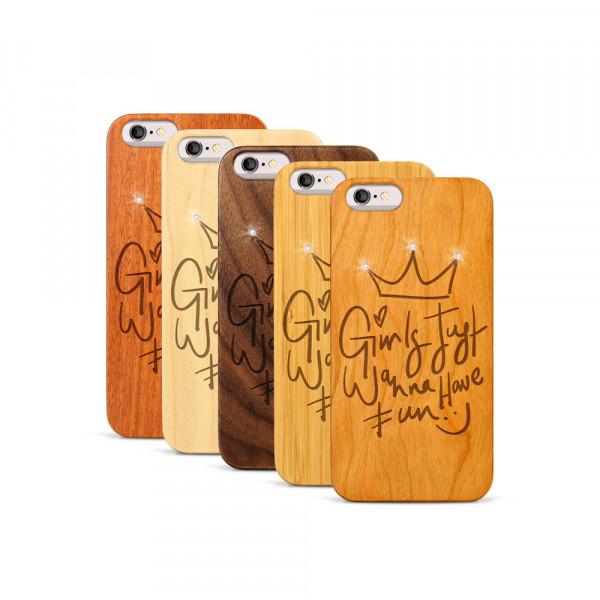 iPhone 6 & 6S Hülle Girls wanna have fun Swarovski® Kristalle aus Holz