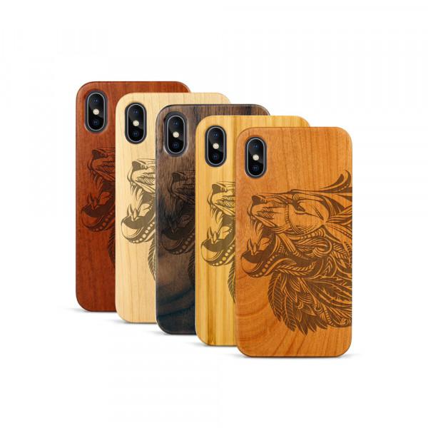iPhone X & Xs Hülle Löwenkopf aus Holz