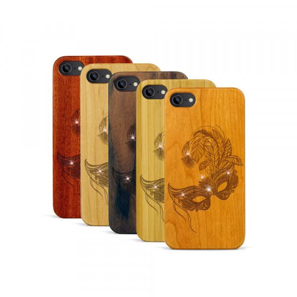 iPhone 7 Hülle Maskenball Swarovski® Kristalle aus Holz