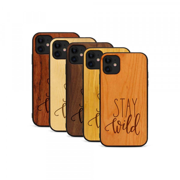 iPhone 11 Hülle Stay Wild aus Holz