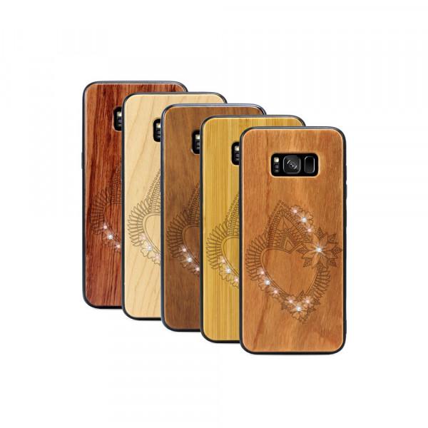 Galaxy S8+ Hülle Herzblume Swarovski® Kristalle aus Holz