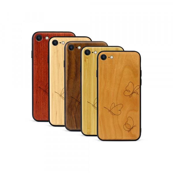 iPhone 8 & SE Hülle Butterflies aus Holz
