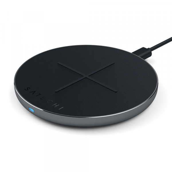 Satechi Aluminium Wireless PD & QC Fast-Charging Pad V2 Qi Ladegerät Space Grau