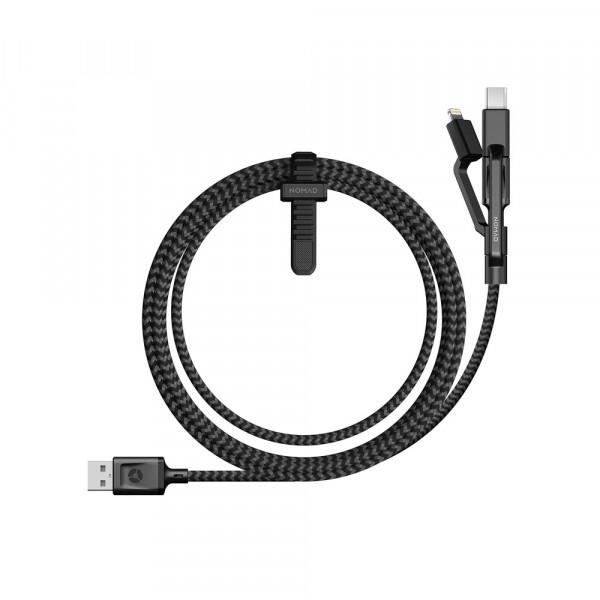Nomad Universal Cable 1,5m Ladekabel USB-C, Micro-USB und Lightning schwarz