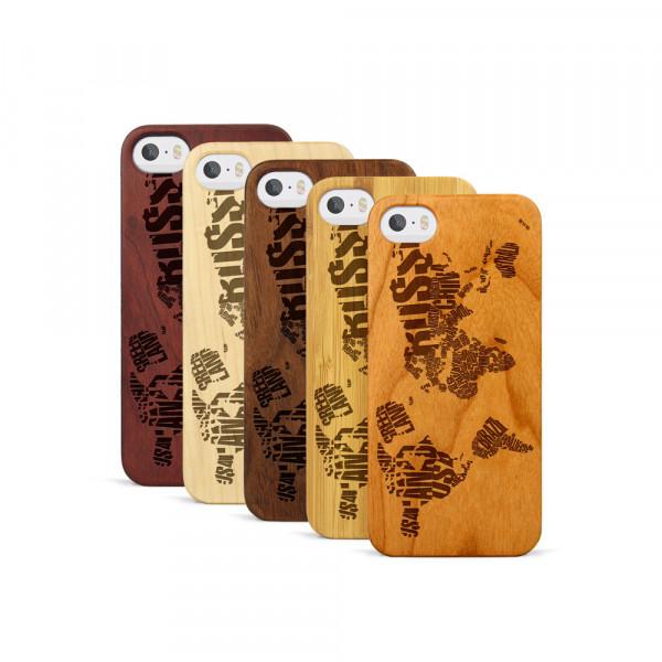 iPhone 5, 5S & SE Hülle Ländernamen Weltkarte aus Holz