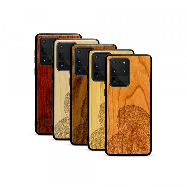 Galaxy S20 Ultra Hülle Papagei aus Holz