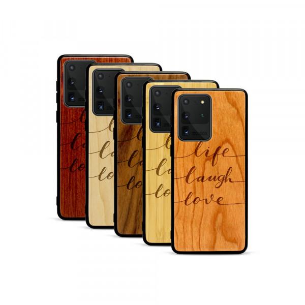 Galaxy S20 Ultra Hülle Life Laugh Love aus Holz