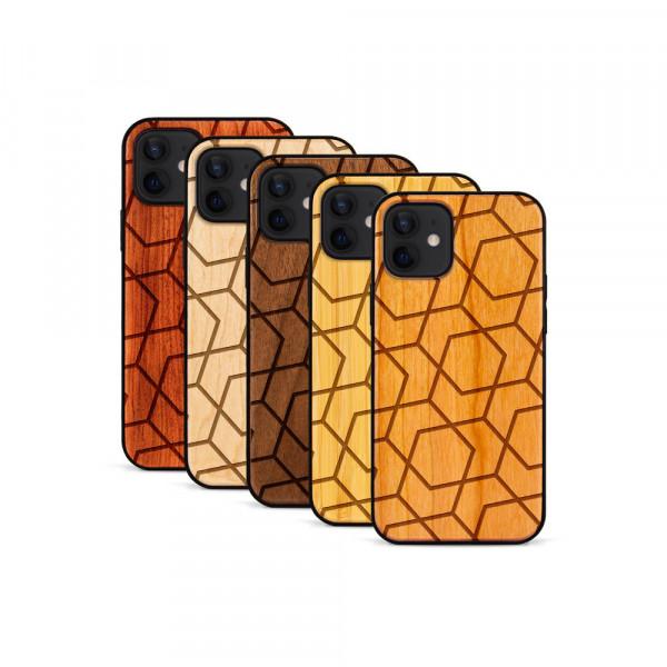 iPhone 12 Mini Hülle Big Pattern aus Holz