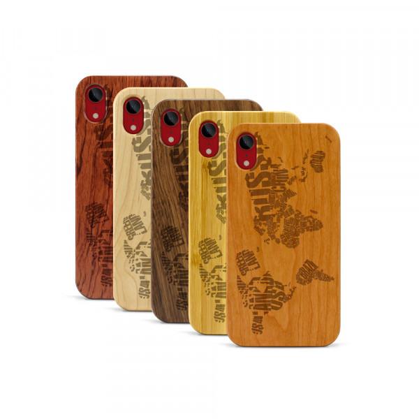 iPhone XR Hülle Ländernamen Weltkarte aus Holz