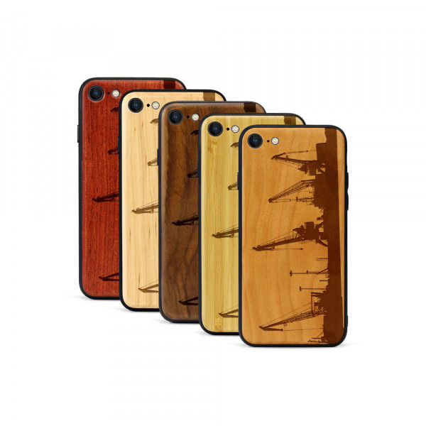 iPhone 8 & SE Hülle Industriedesign Kran aus Holz