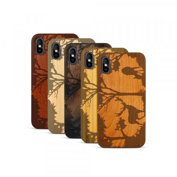 iPhone X & Xs Hülle Wildlife Hirsch aus Holz
