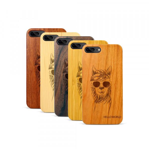 iPhone 7 & 8 Plus Hülle Llama aus Holz