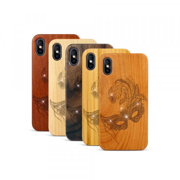 iPhone X & Xs Hülle Maskenball Swarovski® Kristalle aus Holz