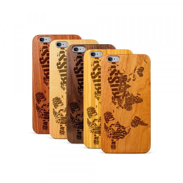 iPhone 6 & 6S Plus Hülle Ländernamen Weltkarte aus Holz