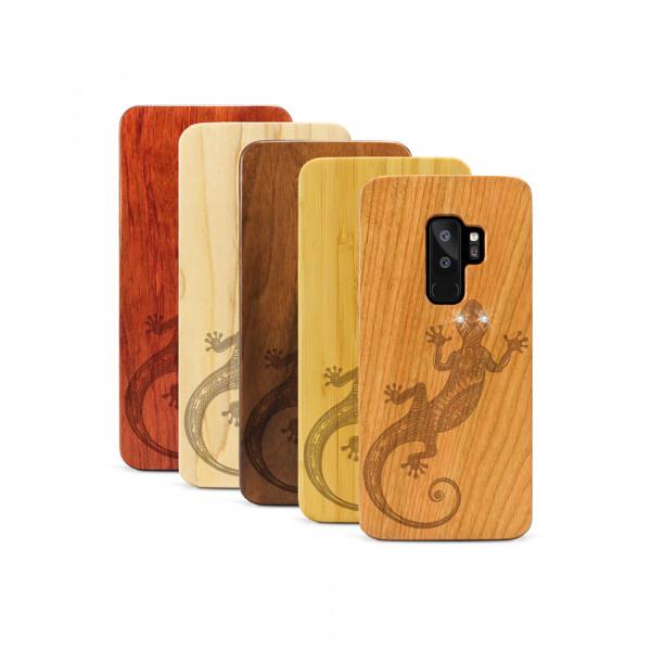 Galaxy S9+ Hülle Gecko Swarovski® Kristalle aus Holz