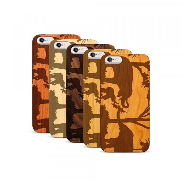 iPhone 6 & 6S Hülle Wildlife Elefantenfamilie aus Holz