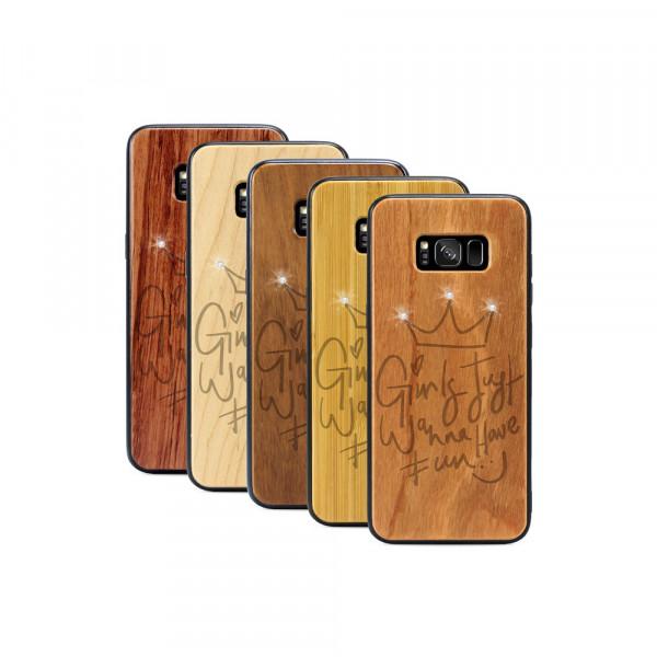Galaxy S8+ Hülle Girls wanna have fun Swarovski® Kristalle aus Holz