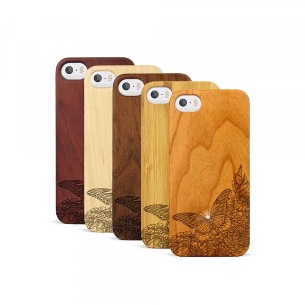 iPhone 5, 5S & SE Hülle Schmetterling Swarovski® Kristalle aus Holz