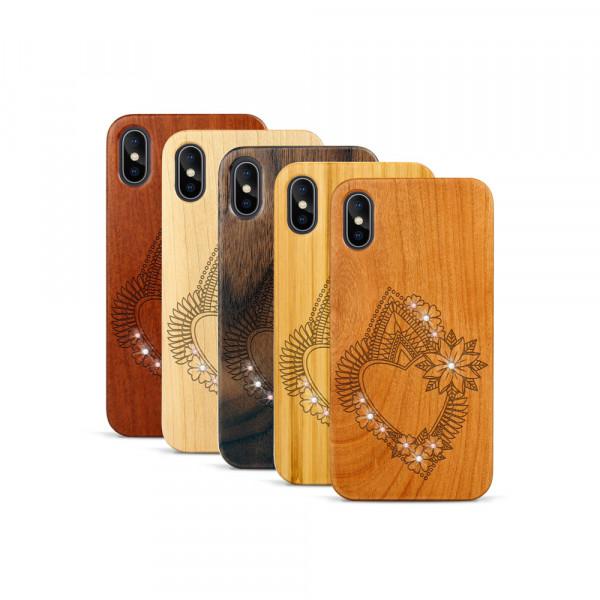 iPhone X & Xs Hülle Herzblume Swarovski® Kristalle aus Holz