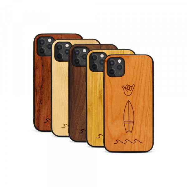iPhone 11 Pro Hülle Surf Icons aus Holz