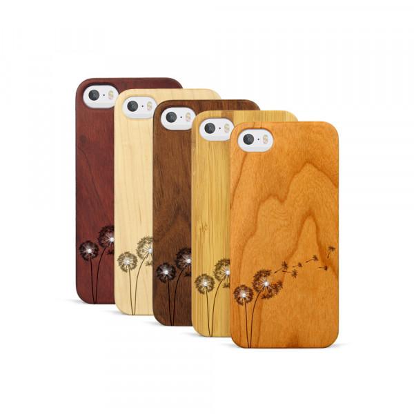 iPhone 5, 5S & SE Hülle Pusteblume Swarovski® Kristalle aus Holz