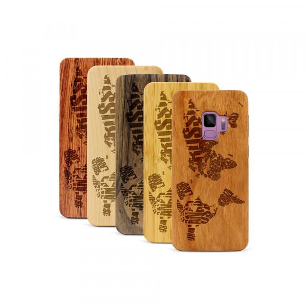 Galaxy S9 Hülle Ländernamen Weltkarte aus Holz