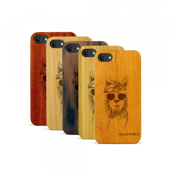 iPhone 7 Hülle Llama aus Holz