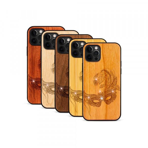 iPhone 12 Pro Max Hülle Maskenball Swarovski® Kristalle aus Holz