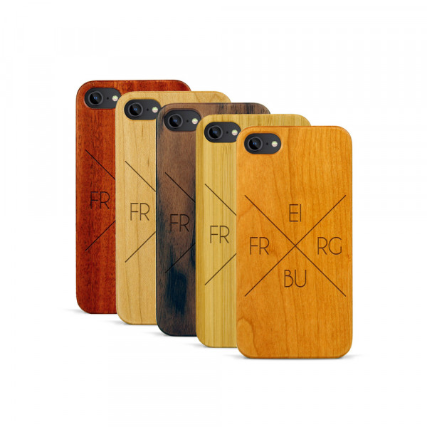 iPhone 7 Hülle Freiburg X-Cross aus Holz