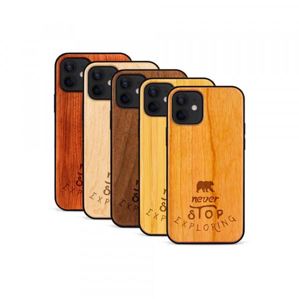 iPhone 12 Mini Hülle Never Stop Exploring aus Holz