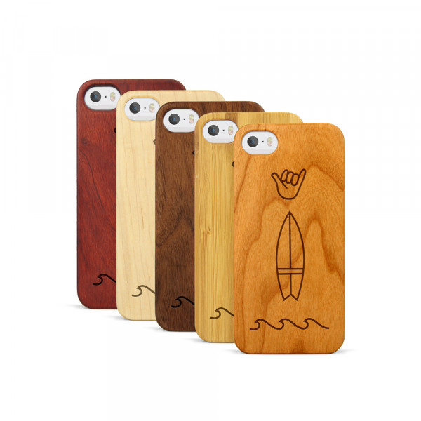 iPhone 5, 5S & SE Hülle Surf Icons aus Holz